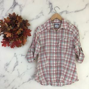 Columbia Plaid Pearl Snap Down Shirt